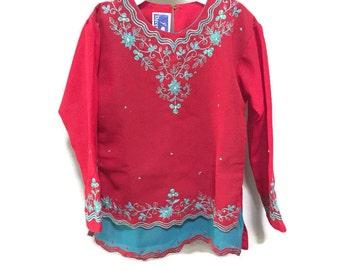 Kids Indian Tunic Shirt, Red Embroidered Tunic, Vintage Kids Bohemian Kids Unisex Ethnic Boho Vintage Girls India Tunika
