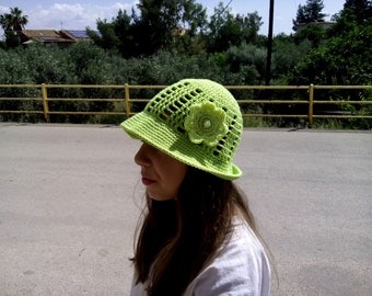 Crochet summer hat, hat for girls, kids hat, green crochet hat, kids summer accessories, green hat, cotton hat, wide brim hat, Crochet hat.