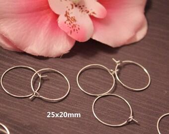 Lot 100 25x20mm silver hoop rings