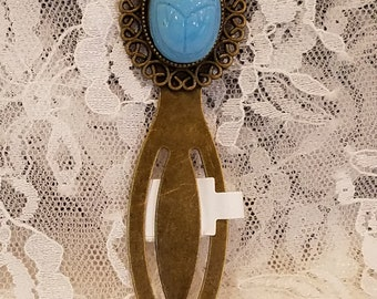 Blue Scarab Blue Beetle Cameo Brass Bookmark