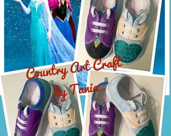 Frozen- Elsa and Anna painted canvas shoes