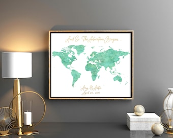 Navy mint world map etsy mint watercolor wedding guestbooks world map wedding guest book map guest book wedding map guest book gumiabroncs Image collections