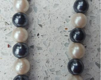 Vintage White & Blue Pearl Necklace