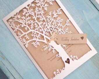 Lasercut Tree Invitation - White & Kraft