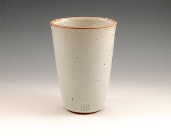 Large White Ceramic Tumbler 16 oz Stoneware Beer Mug Cup Pottery Pint Tumbler Beaker Handmade