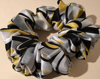 Black White Gray & Yellow Fancy Silky Feeling Handmade Hair Scrunchie