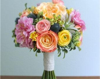 "Pastel Silk Flower Bridal Bouquet, Dahlias, Ranunculus, Roses, Thistle, Succulent, Lavender, Coral, Peach, Yellow, Pink, Green, Blue, ""Dawn"""