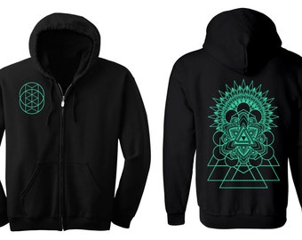 TRIFORCE Mandala Hoodie Men's and Women's Vesica Hooded Sweatshirt Corey Divine Sacred Geometry Tattoo Colab