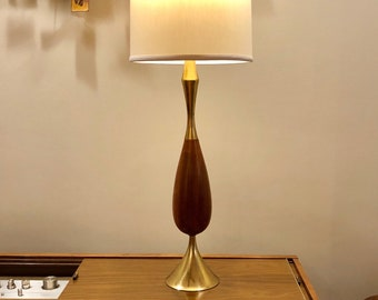 Midcentury Tony Paul for Westwood Brass and Walnut Lamp MCM