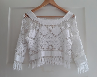 Vintage summer lace crop top