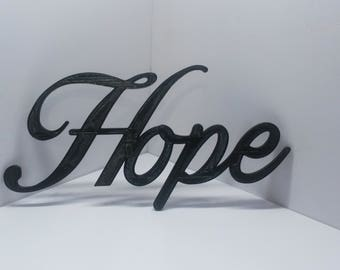 Hope Cursive Script Word Art Wall Hanging Sign Plaque Home Decor Typography