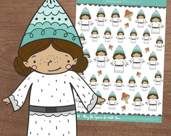 May the Spores Be With You, Layla the Gnome, Gnome Stickers, Planner Stickers, Hand Drawn Stickers, Fandom, Bullet Journal
