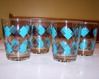 Reserved for Barry - Vintage set of 4 glasses - turquoise - teal - aqua - black - retro