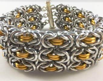 Large Cuff Triple Row Byzantine Chainmaille Bracelet Gold and Silver Aluminum, chain maille, chain mail, chainmail