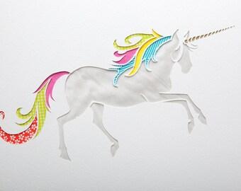 Dancing unicorn handmade papercut picture // unicorn art - personalized gift - wall art - fantasy creatures - kids room decor