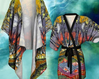 Moonlight Kimono Cardigan - Moonlight Over Spring Batik