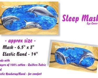 SLEEP Mask eye cover -  DOLPHINS - / travel mask sleeping eye cover
