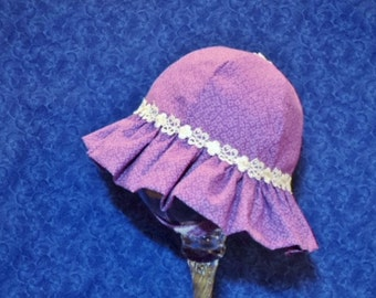 Baby Sunhat Purple with White Lace and Chin Straps