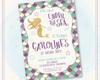 20%OFF SALE Mermaid Invitation Mermaid Birthday Invitation Gold Sparkle Mermaid Invitation Under The Sea Invitation Mermaid Birthday Party