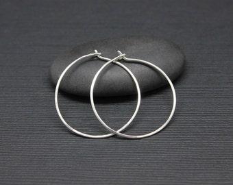 """Silver Hoops, 925 Sterling Silver hoop earrings, 1"""" hoops, medium size everyday earrings, gift for her, 1 inch medium hoops"""