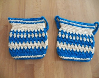 Sweet Pair of Vintage 1950 Crocheted Potholders or Trivets in Cream and Blue
