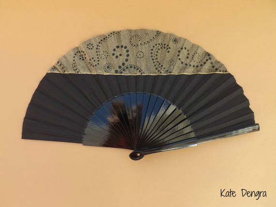 Black and Gold Half Dottilism Hand Fan READY to SHIP