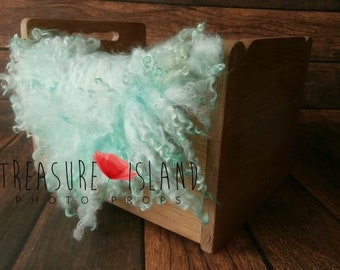 Curly Felted Blanket Newborn Photography Props Wool Stuffer Curly Felt Tiffany Turquoise