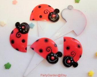 Ladybug Cupcake Picks - Set of 12
