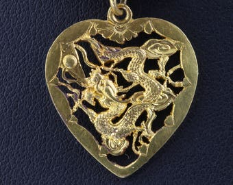 Vintage! 22K Yellow Gold Asian Dragon Heart Pendant