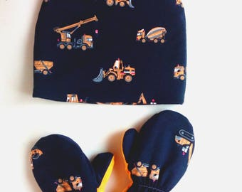 Tractor hat cotton Warm hat boy Tractor outfit Tractor clothes Tractor fan Work cars winter hat
