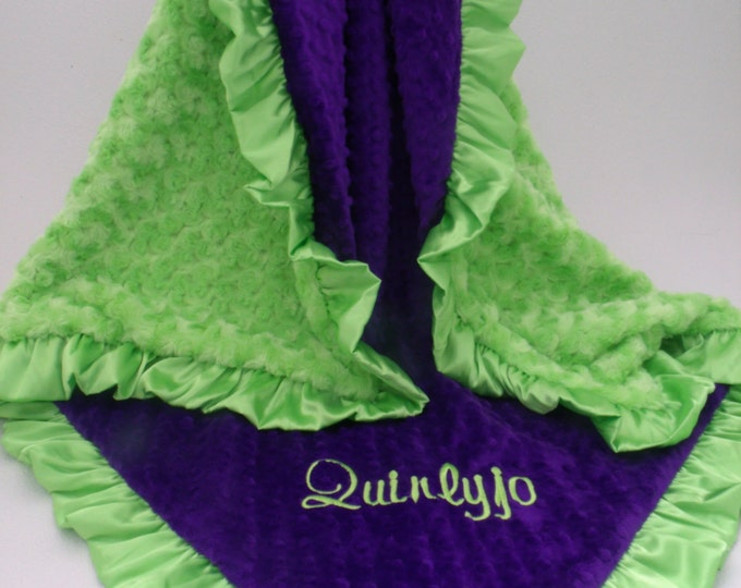 Purple and Bright Kiwi Lime Green Minky Blanket for baby, toddler, teen or adult