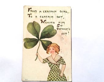 Vintage 1910s Romantic St Patricks Day Postcard/Lithograph/Four Leaf Clover/'From a Certain Girl...' 3 x 5