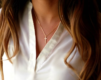 Dainty Gold Cross Necklace | Dainty Cross Charm Necklace | Dainty Gold Religious Necklace | Small Gold Cross Necklace | GOLD OR SILVER Cross