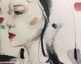 Fashion illustration portrait Orient Tatoo Lady