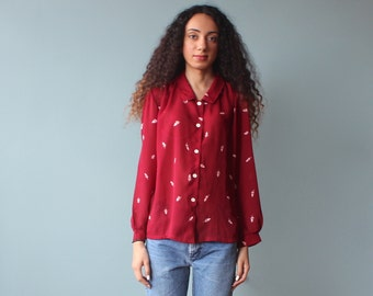 SALE burgundy floral blouse / button up top / 1980s / small -medium