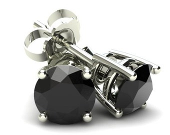 Black Diamond Studs 1/4CT Round Brilliant Cut Black Diamond Stud Earrings In 14K Gold