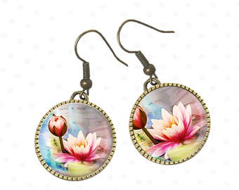 Lily pink flower on cabochon earrings