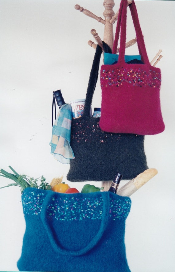 Knit Felted Totes Knitting Pattern - Womens Knitted Tote Pattern ...