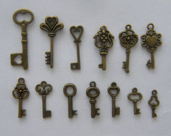 The Ultimate Key Charm Collection - 12 different antique bronze key charms