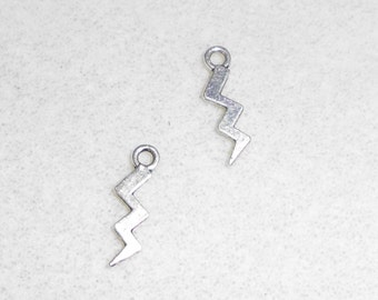 Silver Lightening Bolt Charm