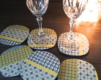 DRINK coasters x 6 wooden pattern trend - color yellow and gray