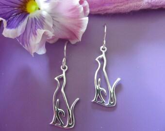 D. Kirkup Designs Sterling Silver Open Cat Earrings
