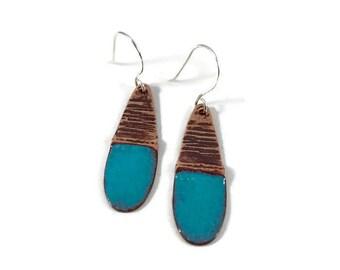 Copper and Turquoise Enamel Earrings - Handmade Copper Earrings - Teardrop Earrings - Textured Earrings