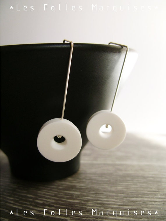 White circle earrings - minimalist - design - sterling silver findings