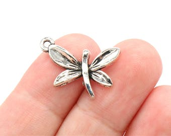 8 Pcs Dragonfly Charms Insect Charms Antique Silver Tone 18x23mm - YD0144
