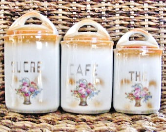 Art deco French porcelain kitchen canisters tea coffee sugar