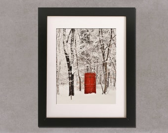 Red Door : winter, surreal, vintage, shabby chic, home, wall, office decor,rustic, new england, woodland, forest, 8x10 wall art