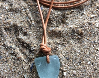 Welsh Gower sea glass waxed cotton/leather cord necklace/beach glass/recycled/natural/adjustable glass necklace