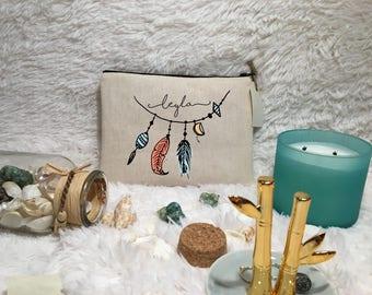 Bohemian Custom Makeup Bag / Feather Makeup Bag / Cosmetic Bag / Bridal Party Gift / Gift For Her