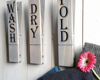 "Jumbo Clothespin Signs, Laundry Room Wall Decor, Set of 3, 12"" Jumbo Clothespins Laundry Decor, Farmhouse Decor, Laundry Room Sign"